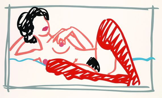 Tom Wesselmann - Fast sketch red stocking Nude