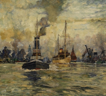 Richard Albitz - Morgenstimmung im Hamburger Hafen