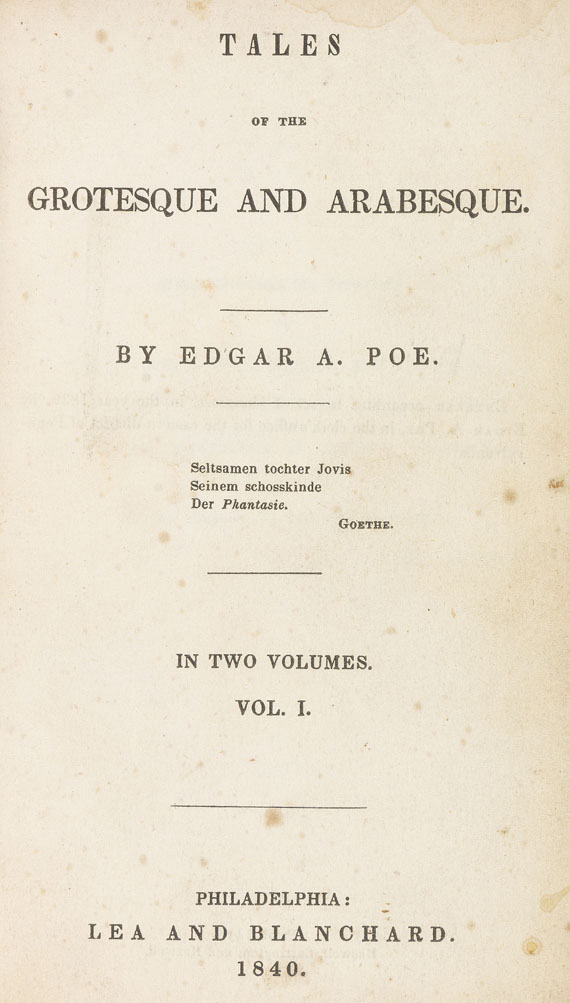 Edgar Allen Poe - Tales of the grotesque and arabesque. 1840. - Weitere Abbildung