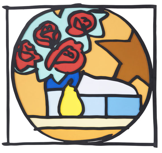 Tom Wesselmann - Still life with four roses and pear