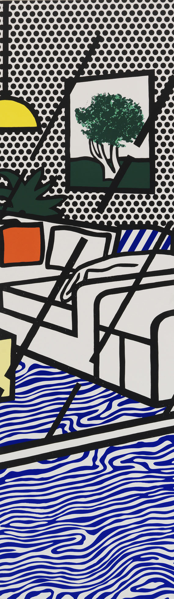Roy Lichtenstein - Wallpaper with Blue Floor Interior - Weitere Abbildung