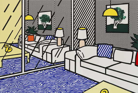 Roy Lichtenstein - Wallpaper with Blue Floor Interior