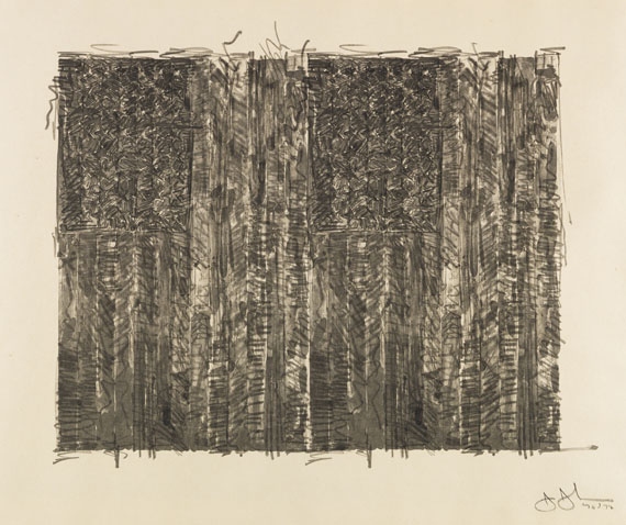 Jasper Johns - Two Flags (Gray)
