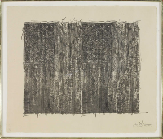 Jasper Johns - Two Flags (Gray) - Rahmenbild